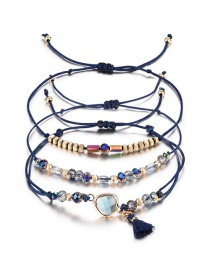 Fashion Navy Beads&tassel Decorated Bracelet((3pcs)