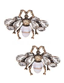 Fashion White Full Diamond Design Bee Shape Earrings