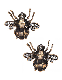 Fashion Black Full Diamond Design Insect Shape Earrings