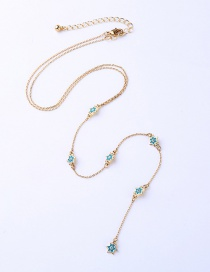 Fashion Light Blue Star Shape Decorated Long Necklace
