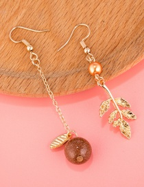 Fashion Gold Color Leaf Decorated Long Tassel Earrings