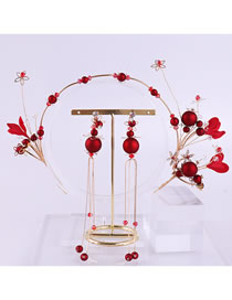 Fashion Red Flowers&tassel Decorated Hair Accessories