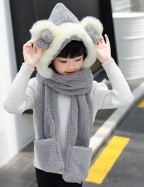 Lovely Gray Pure Color Decorated Scarf&hat
