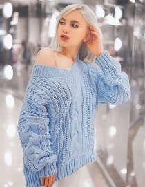 Elegant Light Blue Pure Color Design V Neckline Sweater