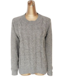 Elegant Gray Pure Color Design Long Sleeves Sweater