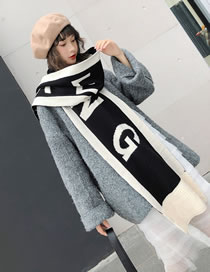 Fashion Black+white Letter Pattern Decorated Tassel Scarf