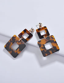 Fashion Yellow+black Square Shape Decorated Earrings