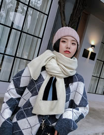 Fashion White Stripe Pattern Decorated Thick Scarf