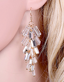Fashion Gold Color+white Geometric Shape Decorated Tassel Earrings