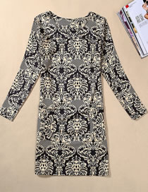 Fashion Gray Flower Pattern Decorated Long Sleeves Dress