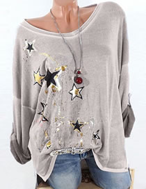 Fashion Gray Star Pattern Decorated T-shirt