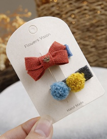 Fashion Multi-color Fuzzy Ball Decorated Hair Clip(2pcs)