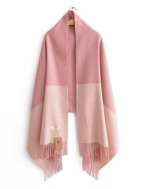 Fashion Pink Color-matching Decorated Tassel Scarf