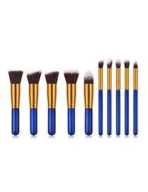 Fashion Blue Flat Shape Decorated Makeup Brush(10pcs)