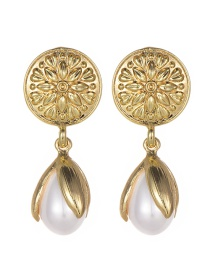 Fashion Gold Color+white Flower Shape Decorated Earrings