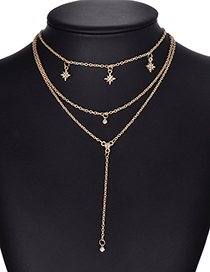 Fashion Gold Color Multi-layer Design Pure Color Necklace