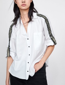 Fashion White Lapel Design Long Sleeves Shirt