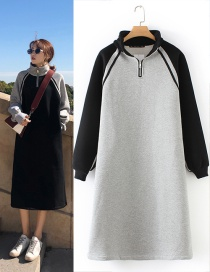 Fashion Gray+black Color-matching Decorated Dress