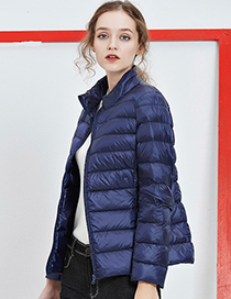 Fashion Sapphire Blue Pure Color Decorated Down Jacket