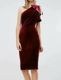 Fashion Claret Red Strapless Design Pure Color Dress