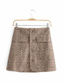 Fashion Khaki Leopard Pattern Decorated Skirt