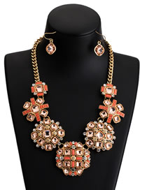 Fashion Orange Full Diamond Decorated Necklace