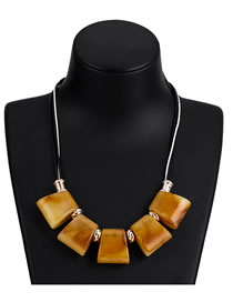 Fashion Yellow Geometric Shape Decorated Necklace