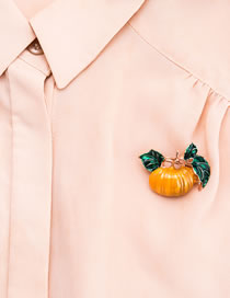 Fashion Yellow Pumpkin Shape Decorated Brooch