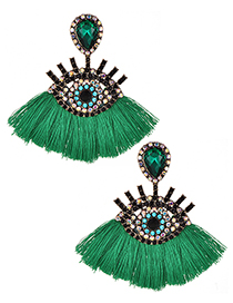 Fashion Green Eye Shape Decorated Tassel Earrings