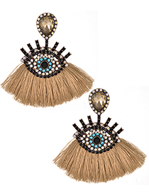 Fashion Khaki Eye Shape Decorated Tassel Earrings