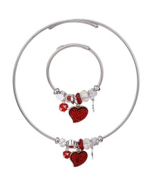 Fashion Red Heart Shape Decorated Jewelry Set
