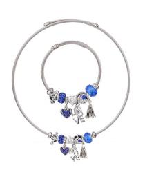 Fashion Blue Heart Shape Decorated Jewelry Set