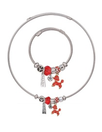 Fashion Red Dogs Shape Decorated Jewelry Set