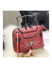 Fashion Red+white Cat Pattern Decorated Handbag