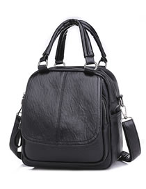 Fashion Black Pure Color Decorated Handbag