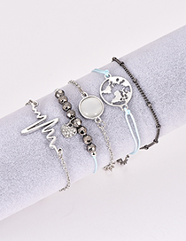 Fashion Silver Color Heart Shape Decorated Bracelet (5 Pcs )