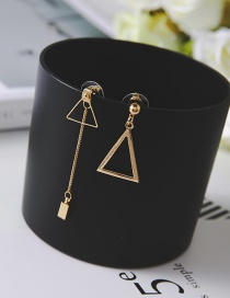 Simple Gold Color Triangle Shape Decorated Earrings