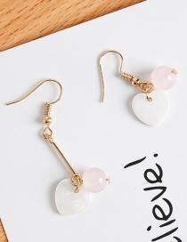 Fashion White Heart Shape Decorated Earrings