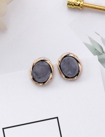 Fashion Gray Oval Shape Decorated Earrings
