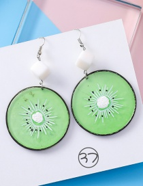 Fashion Green Kiwifruit Shape Design Pure Color Earrings