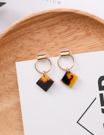 Sweet Brown Square Shape Design Simple Earrings
