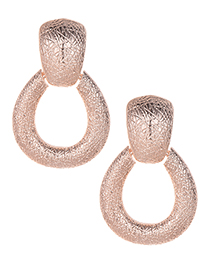 Fashion Rose Gold Water Drop Shape Decorated Hollow Out Earrings