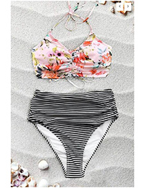 Fashion Multi-color Flower Pattern Decorated Bikini