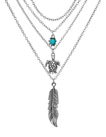 Fashion Antique Silver Feather Shape Decorated Necklace