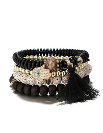 Fashion Black Hand Shape Decorated Tassel Bracelet (4 Pcs )