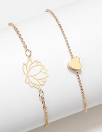 Fashion Gold Color Heart Shape Decorated Bracelet (2 Pcs )