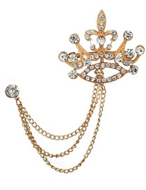 Fashion Gold Color Crown Shape Decorated Brooch