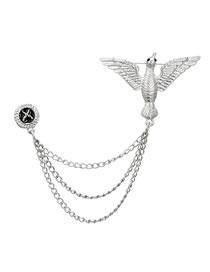 Fashion Silver Color Bird Shape Decorated Brooch
