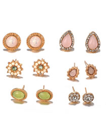 Fashion Multi-color Water Drop Shape Decorated Earrings (12 Pcs )
