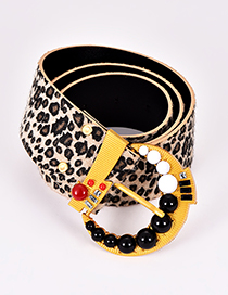 Fashion Multi-color Leopard Pattern Decorated Bead Belt